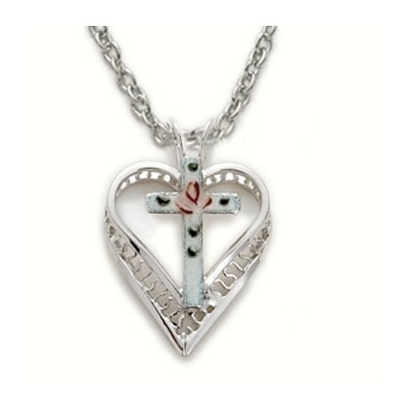 "Heart Shaped with Cross Sterling Silver Necklace w/18"" Chain - Boxed"