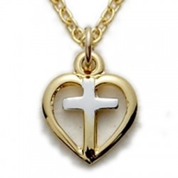 "Heart Necklace 14K Gold Filled Cross Jewelry w/16"" Chain - Boxed"
