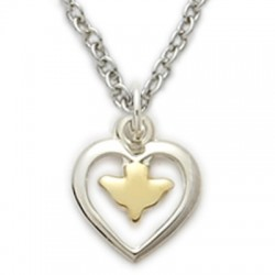 "Heart Shaped with Gold Holy Spirit Dove Sterling Silver Necklace w/16"" Chain - Boxed"