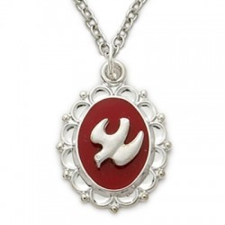 "Holy Spirit Dove on Red Field Sterling Silver Necklace w/18"" Chain - Boxed"