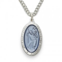 "St. Christopher Sterling Silver Blue Oval Medal w/18"" Chain"