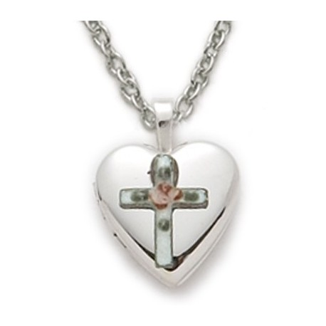 "Engraved Locket Sterling Silver Cross Necklace Religious Jewelry w/18"" Chain - Boxed"