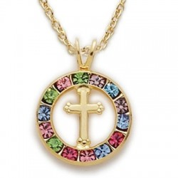 "CZ Jewel Fashion Cross 24K Gold Over Sterling Silver Colored Crystal w/18"" Chain - Boxed"