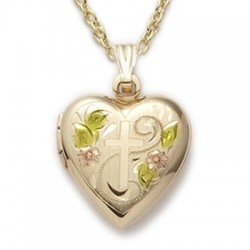 "Heart Shaped Engraved Locket 24K Gold over Sterling Silver Necklace w/18"" Chain - Boxed"