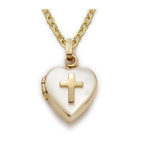 Heart Shaped Engraved Locket 24K Gold over Sterling Silver Mother of Pearl Necklace