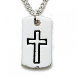 "Cross on Dogtag Sterling Silver Necklace w/18"" Chain - Boxed"