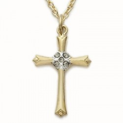 "CZ Jewel Cross 14K Gold Filled Inspirational Necklace w/18"" Chain - Boxed"