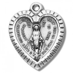"Sterling Silver Heart Shaped Miraculous Medal w/18"" Chain - Boxed"