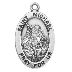 "St. Michael Sterling Silver Oval w/20"" Chain - Boxed"
