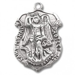 """St. Michael Sterling Silver Small Shield w/20"""" Chain - Boxed"""