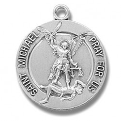 """St. Michael Sterling Silver with Guardian Angel on Back w/24"""" Chain - Boxed"""