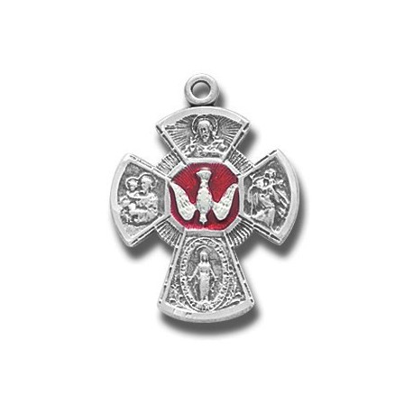 "Sterling Silver Small Red 4 Way with Holy Spirit w/18"" Chain - Boxed"