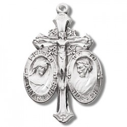 "Sterling Silver Jesus, Mary, and Joseph w/24"" Chain - Boxed"
