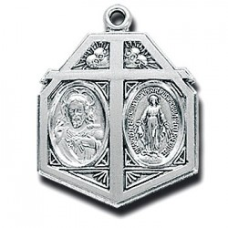"""Sterling Silver Scapular & Miraculous w/24"""" Chain - Boxed"""