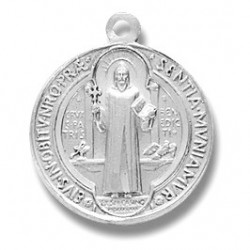 "St. Benedict Sterling Silver Small Round w/18"" Chain - Boxed"
