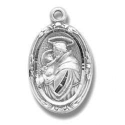 "St. Anthony Sterling Silver Small Oval w/18"" Chain - Boxed"