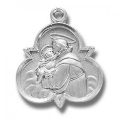 "St. Anthony with Trinity Sterling Silver w/18"" Chain - Boxed"