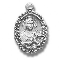 "St. Therese Sterling Silver Small w/18"" Chain - Boxed"