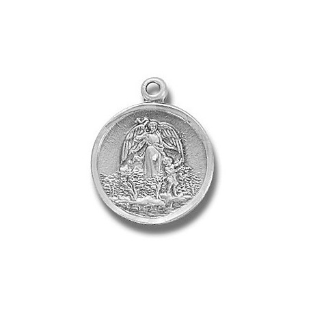"Guardian Angel Small Round Sterling Silver w/18"" Chain - Boxed"
