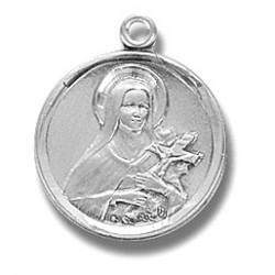 "St. Therese Sterling Silver Small Round w/18"" Chain - Boxed"