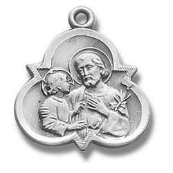 "St. Joseph with Trinity Sterling Silver w/18"" Chain - Boxed"