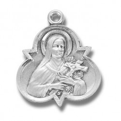 "St. Theresa with Trinity Sterling Silver w/18"" Chain - Boxed"