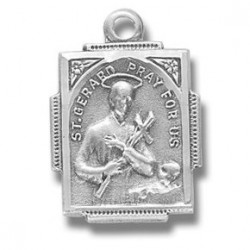"""St. Gerard Sterling Silver Small w/18"""" Chain - Boxed"""