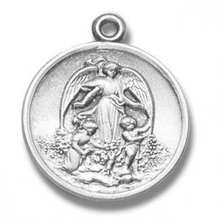 """Guardian Angel Medium Round Sterling Silver w/18"""" Chain - Boxed"""