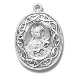 "St. Therese with Crown of Thorns Sterling Silver w/18"" Chain - Boxed"