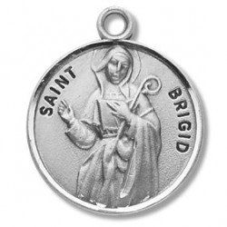"St. Brigid Sterling Silver Round w/18"" Chain - Boxed"
