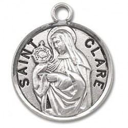 "St. Clare Sterling Silver Round w/18"" Chain - Boxed"