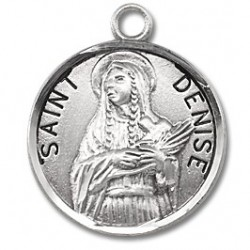 "St. Denise Sterling Silver Round w/18"" Chain - Boxed"