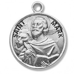 "St. Mark Sterling Silver Round w/20"" Chain - Boxed"