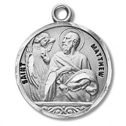 "St. Matthew Sterling Silver Round w/20"" Chain - Boxed"