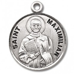 "St. Maximilian Kolbe Sterling Silver Round w/20"" Chain - Boxed"