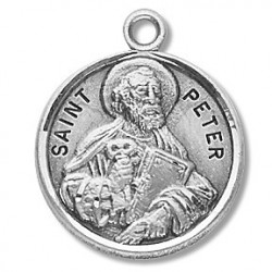 """St. Peter Sterling Silver Round w/20"""" Chain - Boxed"""