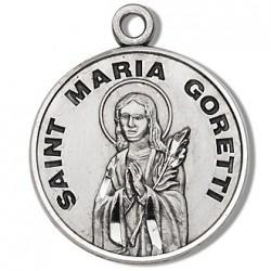 """St. Maria Goretti Sterling Silver Round w/18"""" Chain - Boxed"""