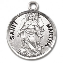 "St. Martha Sterling Silver Round w/18"" Chain - Boxed"