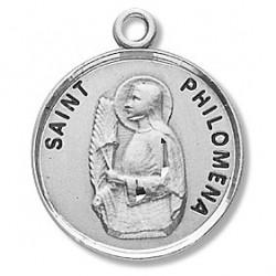 "St. Philomena Sterling Silver Round w/18"" Chain - Boxed"