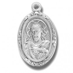 """Sterling Silver Small Oval Scapular w/18"""" Chain - Boxed"""