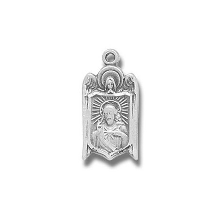 """Angel Shield Scapular Sterling Silver 18"""" Chain - Boxed"""