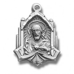 """Sterling Silver Cathedral Scapular w/18"""" Chain - Boxed"""