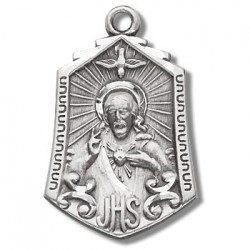 "Sterling Silver Sacred Heart of Jesus w/24"" Chain - Boxed"