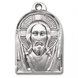 "Sterling Silver Renaissance Jesus Medal 18"" Chain Boxed"