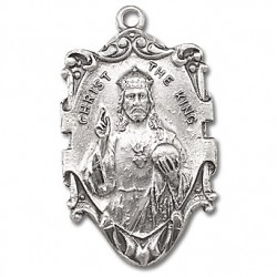 "Sterling Silver Sacred Heart Medal w/24"" Chain - Boxed"
