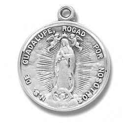 """Sterling Silver Round Our Lady of Guadalupe w/18"""" Chain - Boxed"""