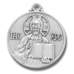 "Sterling Silver Large Round Icon Christ the Teacher w/24"" Chain - Boxed"