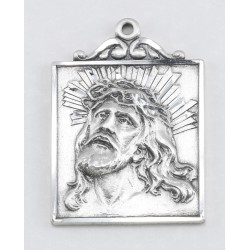 "Sterling Silver Square Head of Christ w/24"" Chain - Boxed"