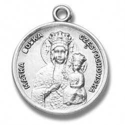"""Sterling Silver Medium Round Our Lady of Czestochowska w/18"""" Chain - Boxed"""
