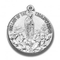 """Sterling Silver Round Our Lady of the Rosary of Fatima w/18"""" Chain - Boxed"""